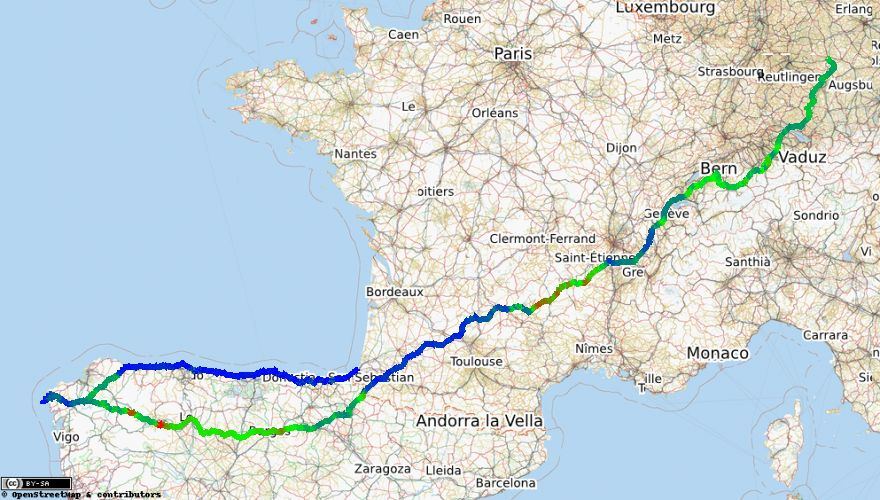 Jakobsweg Frankreich Spanien Karte.Mein Jakobsweg Nach Santiago De Compostela Mit Dem Fahrrad